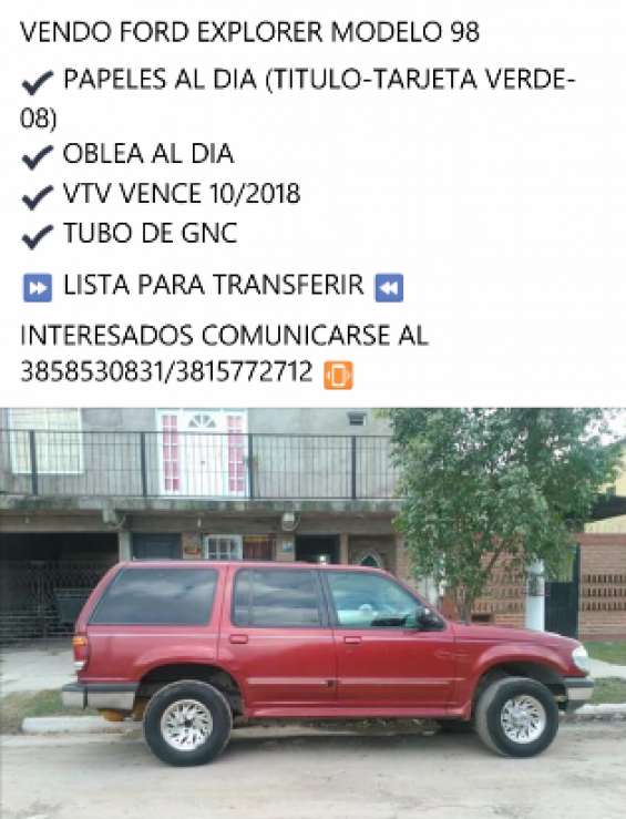 Vendo ford explorer 98